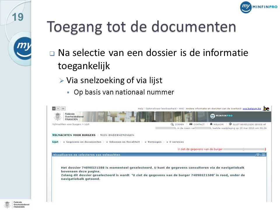 Toegang tot de documenten