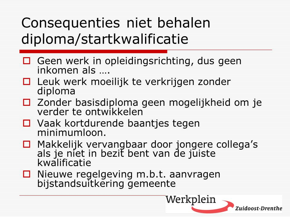 Consequenties niet behalen diploma/startkwalificatie