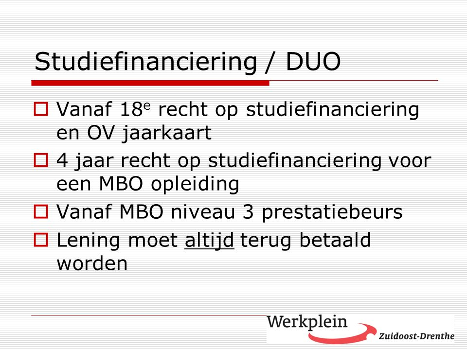 Studiefinanciering / DUO