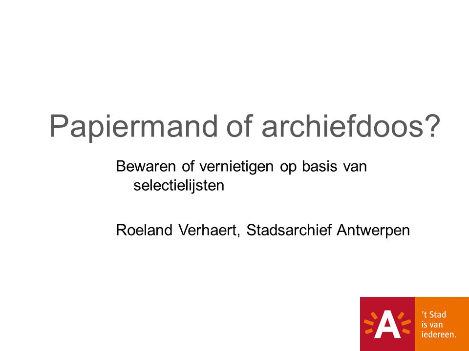 Papiermand of archiefdoos