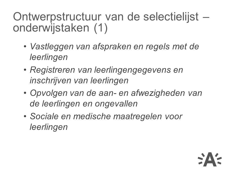 Ontwerpstructuur van de selectielijst – onderwijstaken (1)