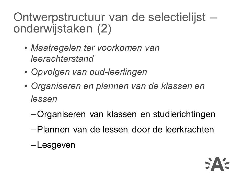 Ontwerpstructuur van de selectielijst – onderwijstaken (2)