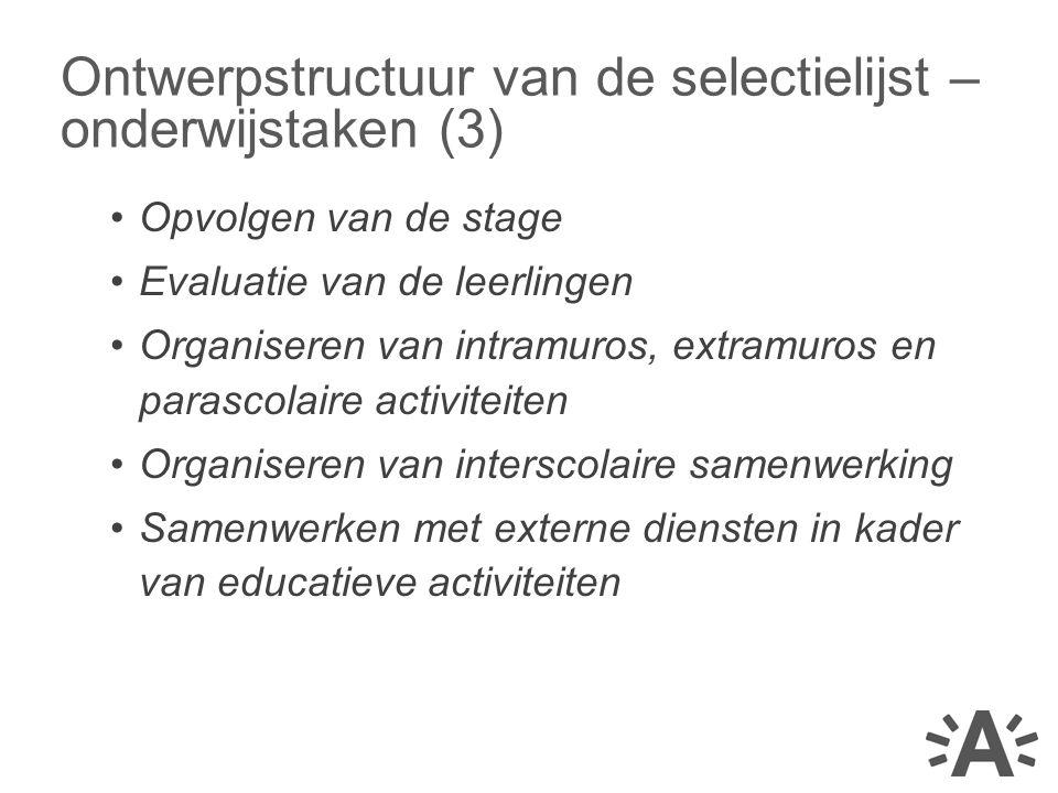 Ontwerpstructuur van de selectielijst – onderwijstaken (3)