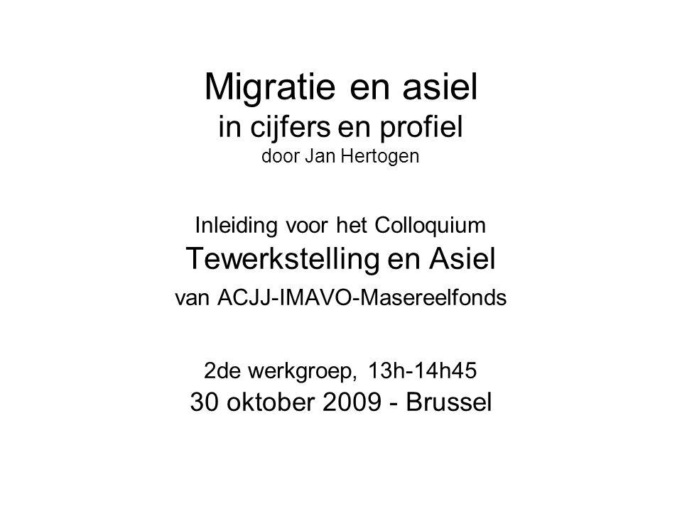 Migratie en asiel in cijfers en profiel door Jan Hertogen Inleiding voor het Colloquium Tewerkstelling en Asiel van ACJJ-IMAVO-Masereelfonds 2de werkgroep, 13h-14h45 30 oktober 2009 - Brussel