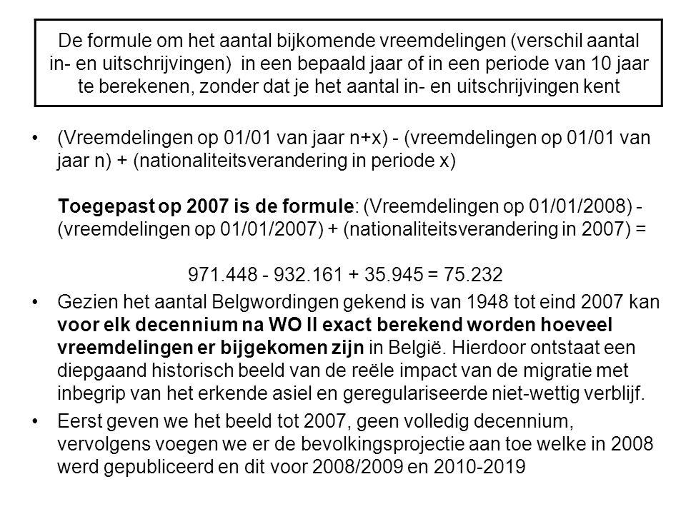 De formule om het aantal bijkomende vreemdelingen (verschil aantal in- en uitschrijvingen) in een bepaald jaar of in een periode van 10 jaar te berekenen, zonder dat je het aantal in- en uitschrijvingen kent