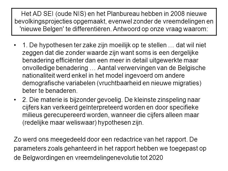 Het AD SEI (oude NIS) en het Planbureau hebben in 2008 nieuwe bevolkingsprojecties opgemaakt, evenwel zonder de vreemdelingen en nieuwe Belgen te differentiëren. Antwoord op onze vraag waarom: