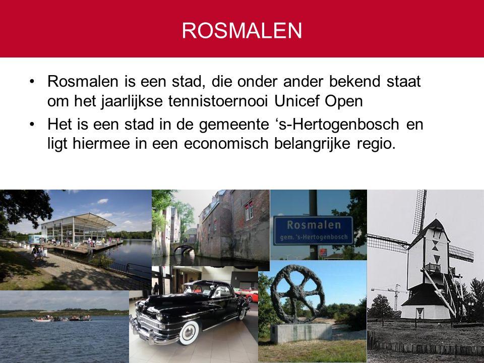 ROSMALEN Rosmalen is een stad, die onder ander bekend staat om het jaarlijkse tennistoernooi Unicef Open.
