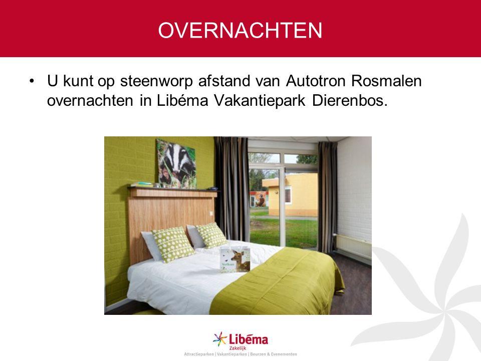 OVERNACHTEN U kunt op steenworp afstand van Autotron Rosmalen overnachten in Libéma Vakantiepark Dierenbos.