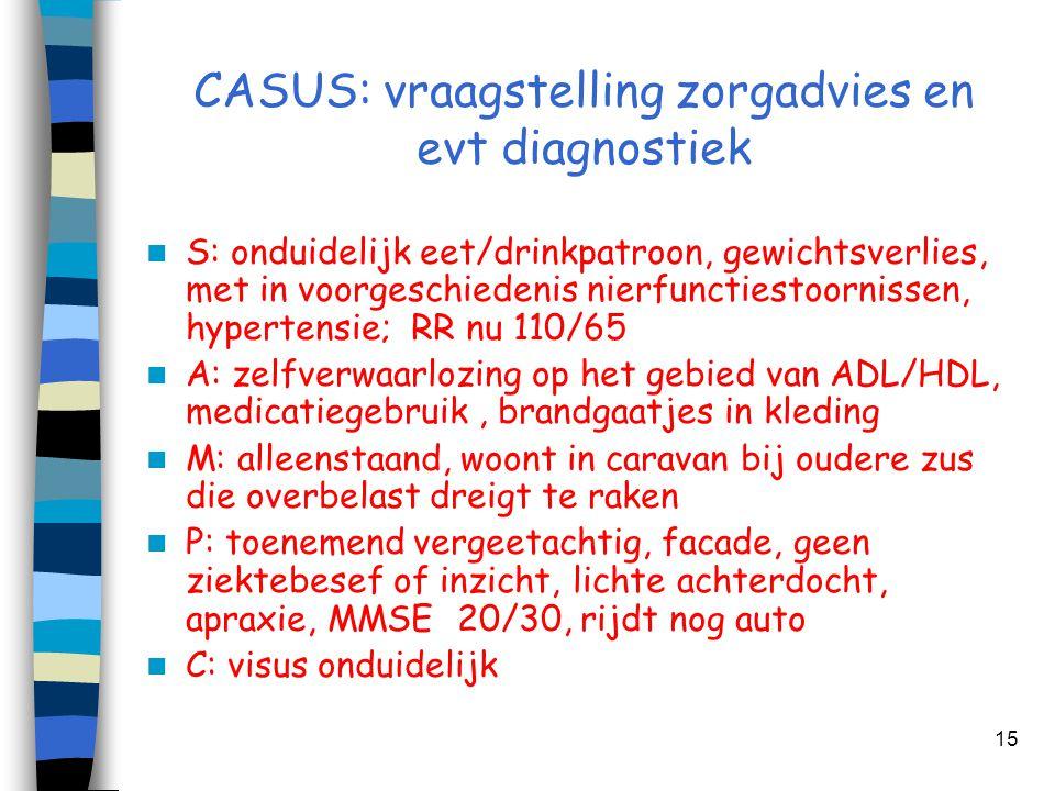 CASUS: vraagstelling zorgadvies en evt diagnostiek