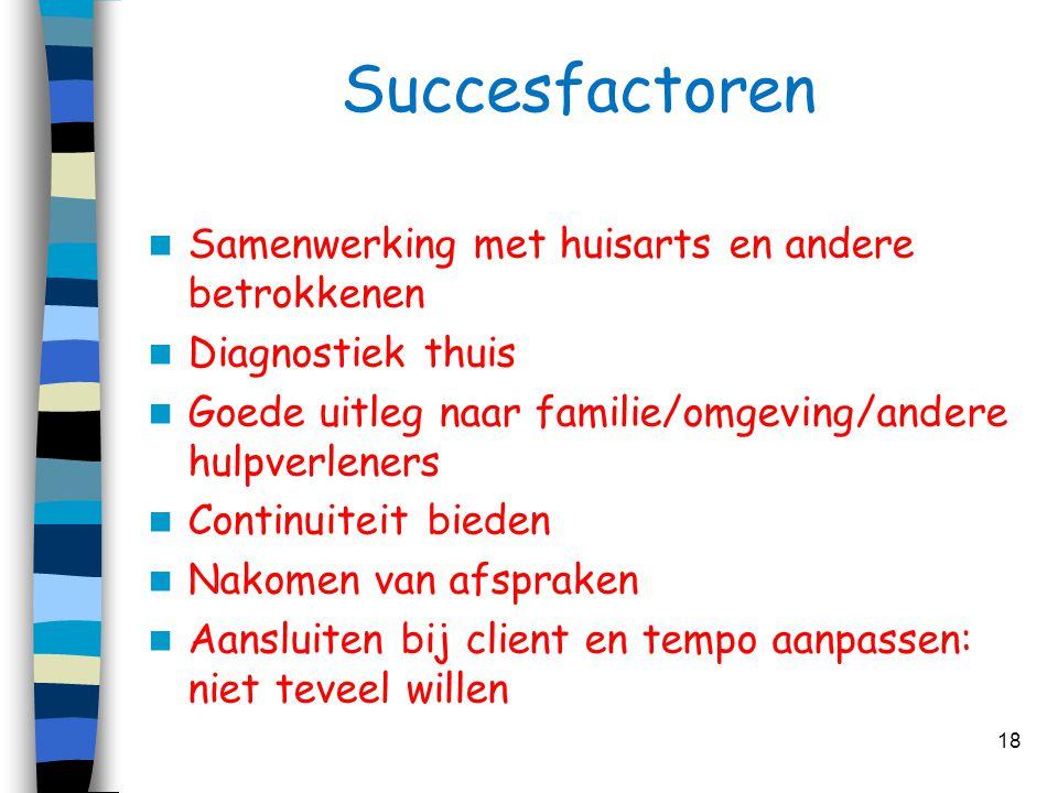 Succesfactoren Samenwerking met huisarts en andere betrokkenen