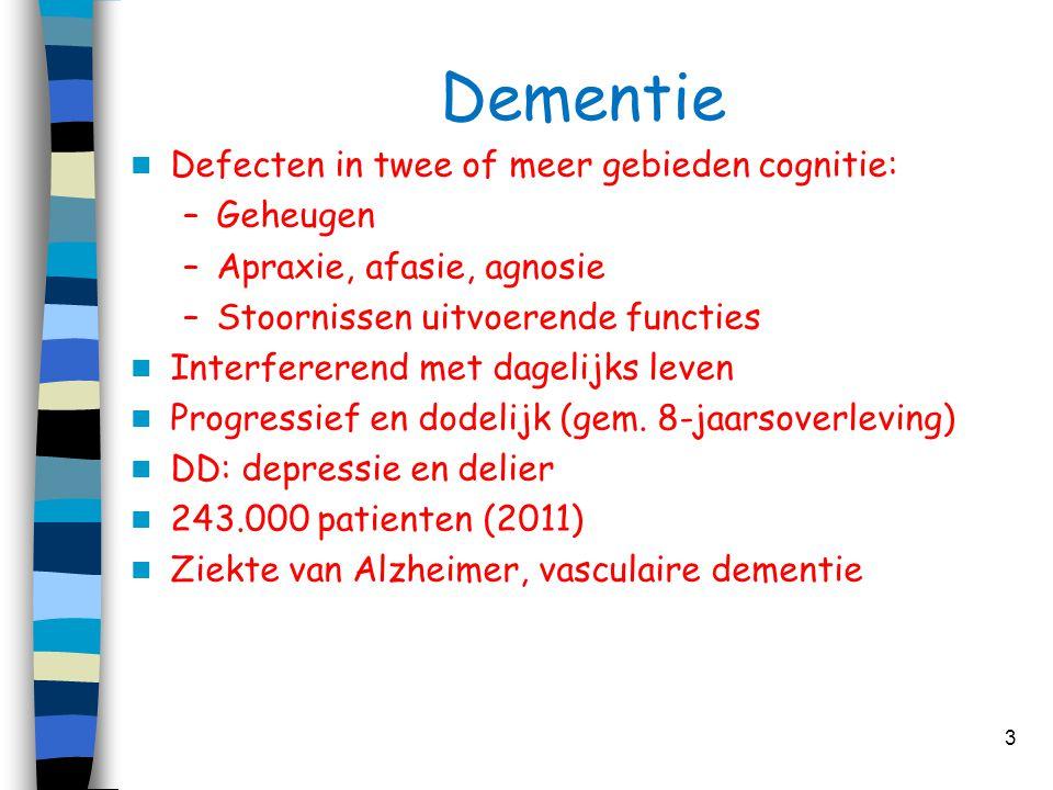 Dementie Defecten in twee of meer gebieden cognitie: Geheugen