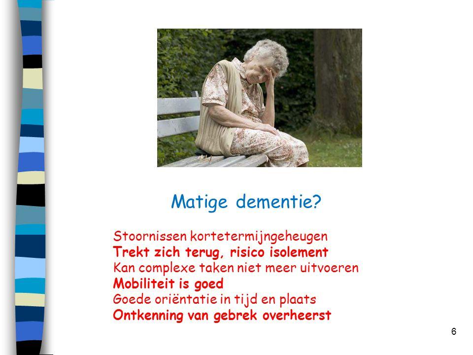 Matige dementie Stoornissen kortetermijngeheugen