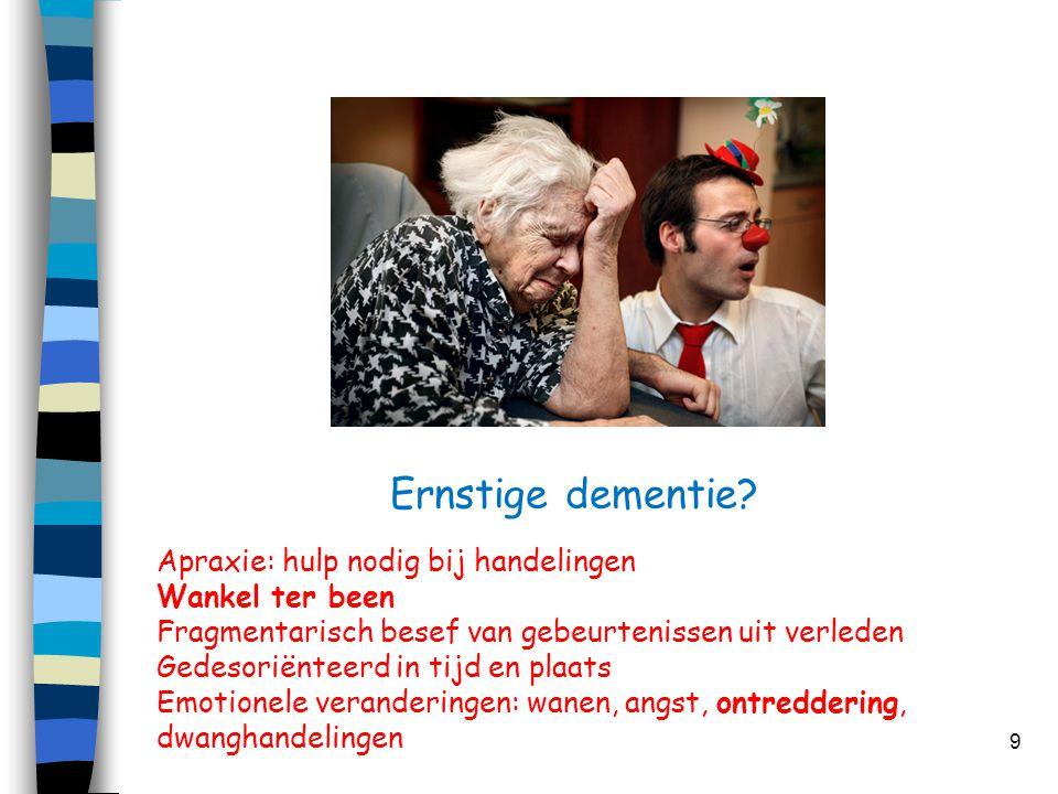 Ernstige dementie Apraxie: hulp nodig bij handelingen Wankel ter been