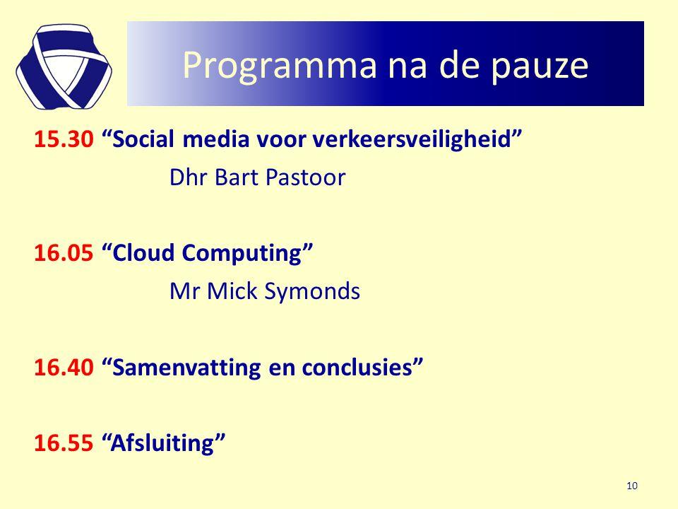Programma na de pauze 15.30 Social media voor verkeersveiligheid