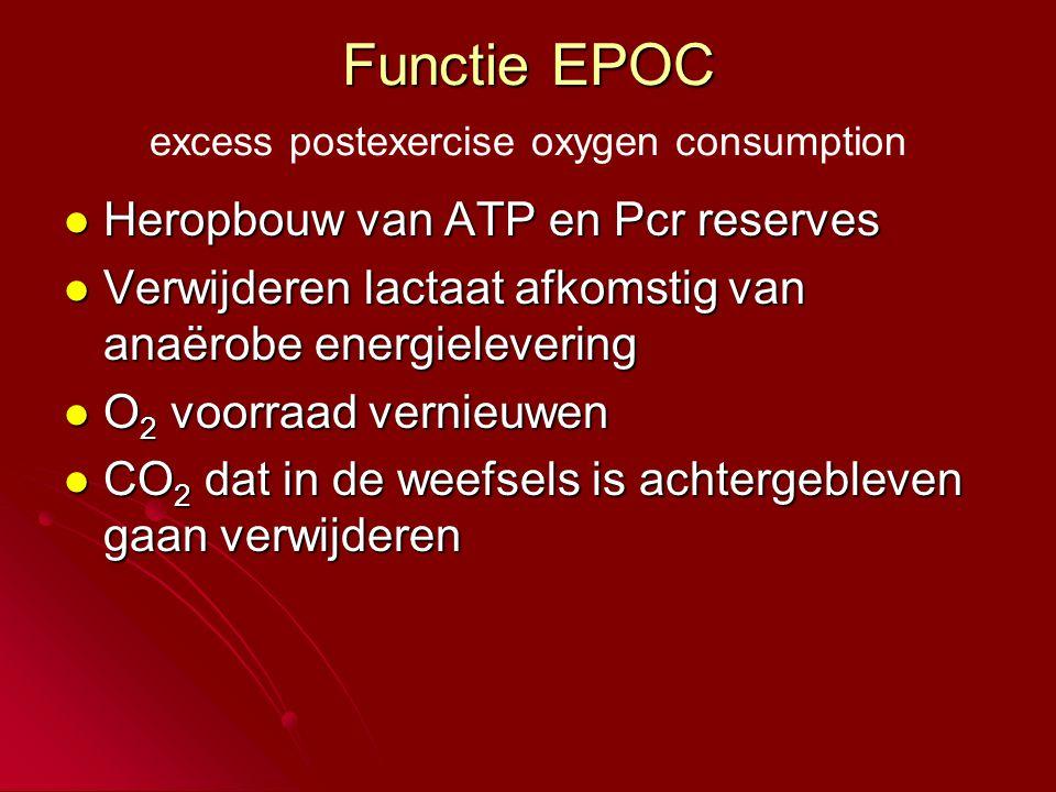Functie EPOC excess postexercise oxygen consumption