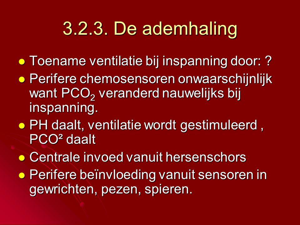 3.2.3. De ademhaling Toename ventilatie bij inspanning door: