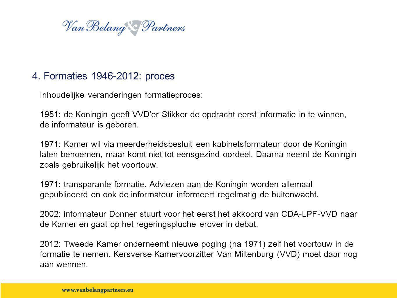 4. Formaties 1946-2012: proces Inhoudelijke veranderingen formatieproces:
