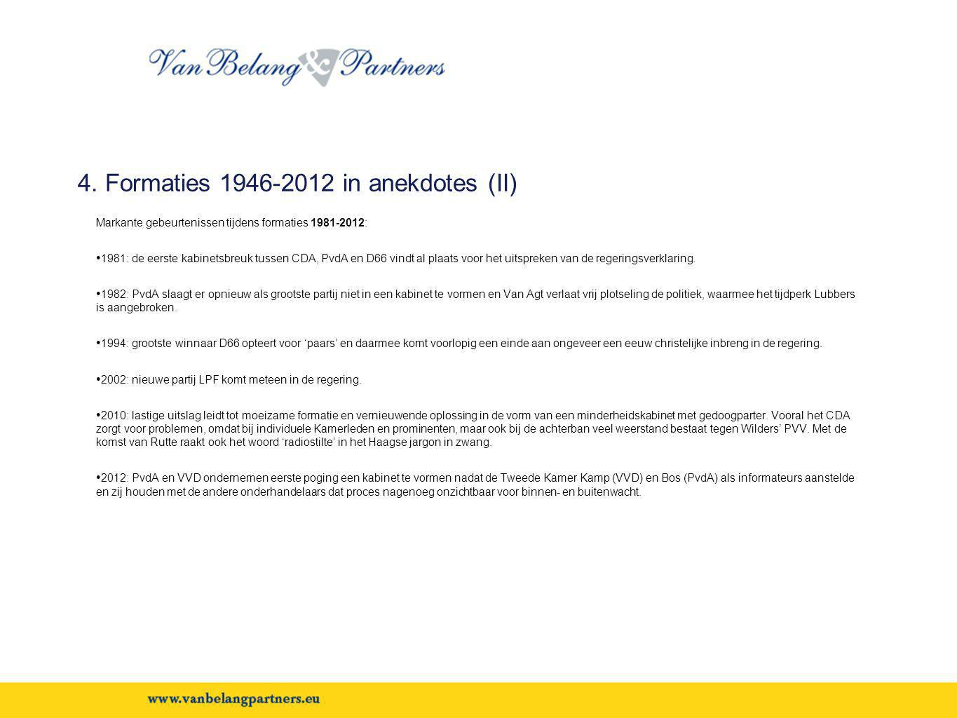 4. Formaties 1946-2012 in anekdotes (II)