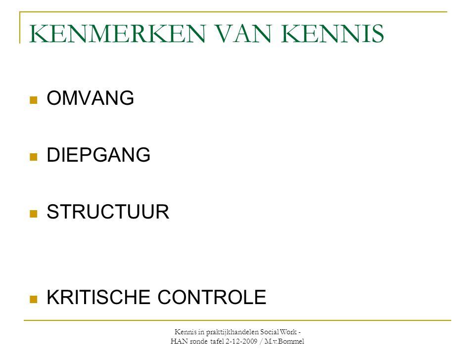 KENMERKEN VAN KENNIS OMVANG DIEPGANG STRUCTUUR KRITISCHE CONTROLE