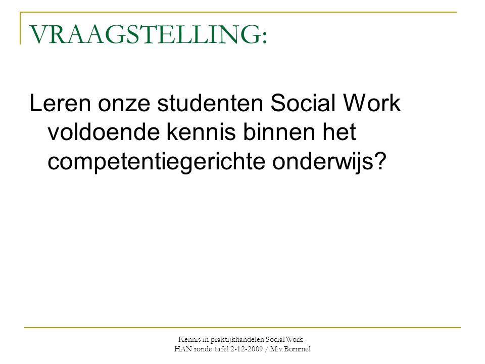 VRAAGSTELLING: Leren onze studenten Social Work voldoende kennis binnen het competentiegerichte onderwijs