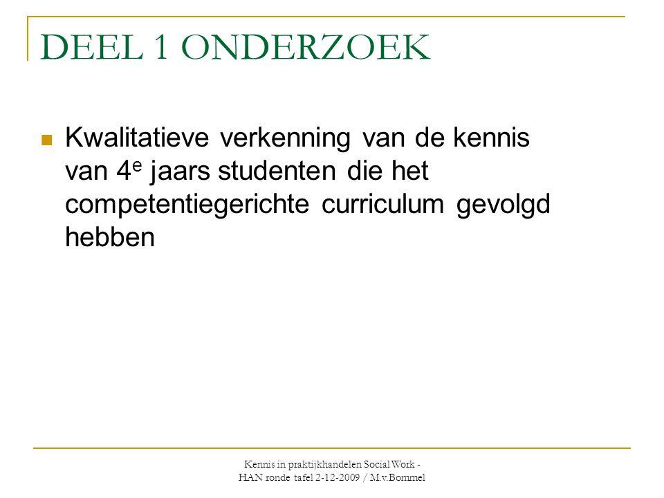 DEEL 1 ONDERZOEK Kwalitatieve verkenning van de kennis van 4e jaars studenten die het competentiegerichte curriculum gevolgd hebben.