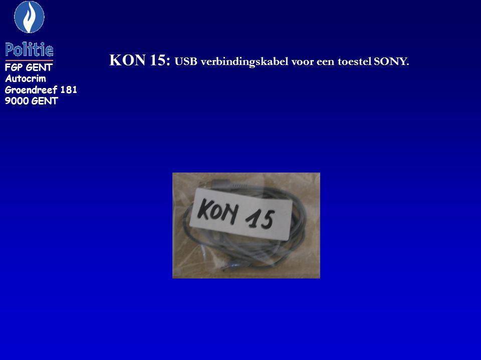 KON 15: USB verbindingskabel voor een toestel SONY.