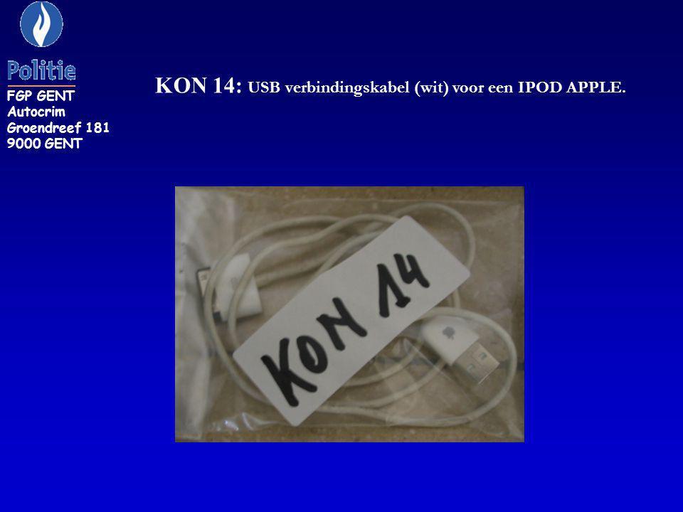 KON 14: USB verbindingskabel (wit) voor een IPOD APPLE.