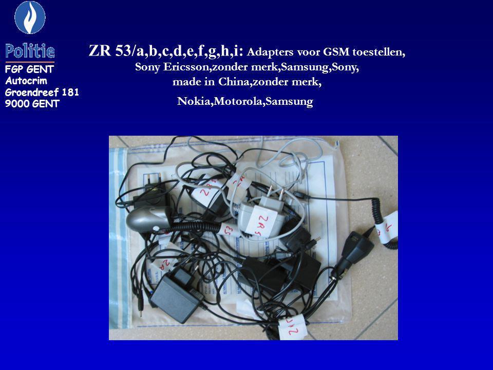 ZR 53/a,b,c,d,e,f,g,h,i: Adapters voor GSM toestellen,