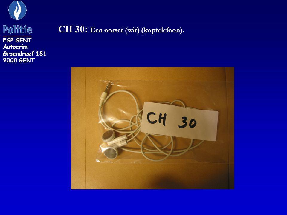 CH 30: Een oorset (wit) (koptelefoon).