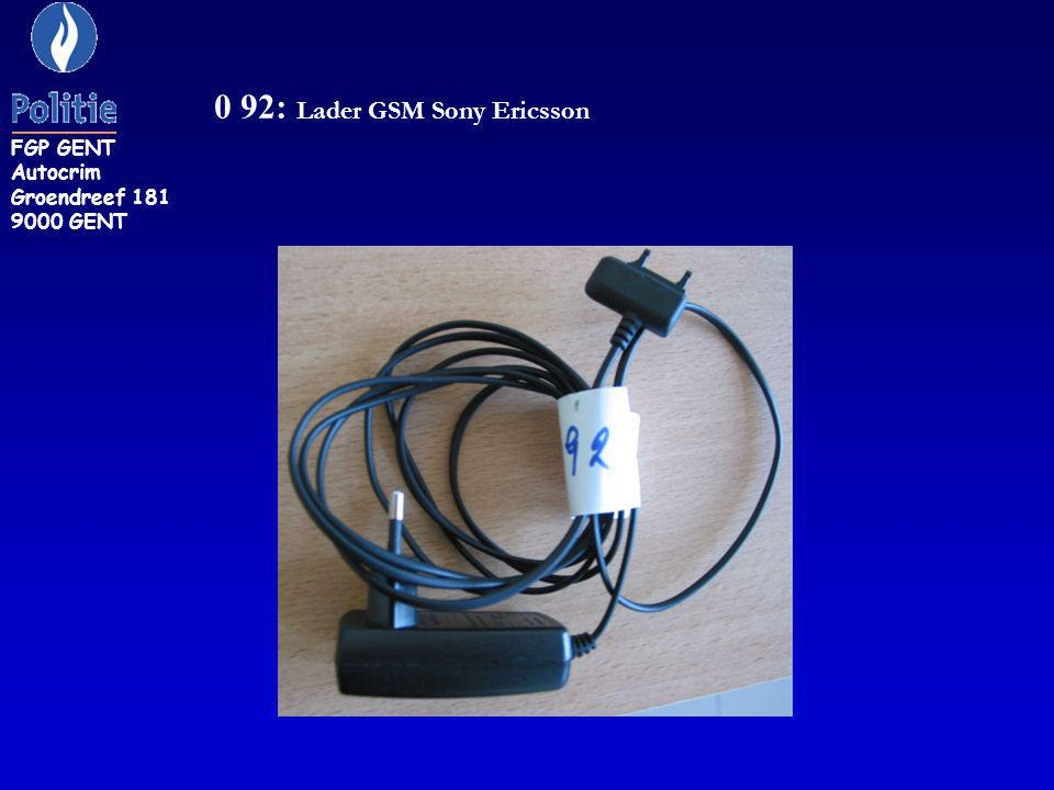 0 92: Lader GSM Sony Ericsson