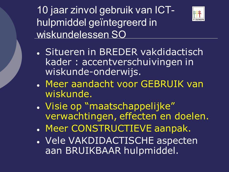 10 jaar zinvol gebruik van ICT-hulpmiddel geïntegreerd in wiskundelessen SO
