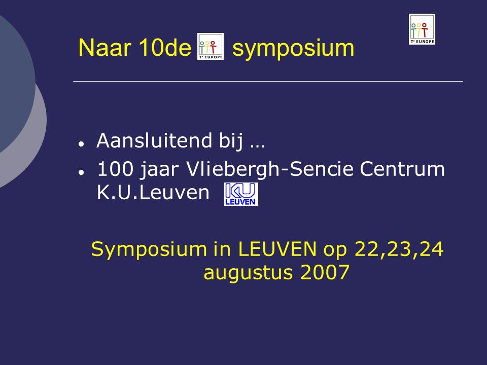 Symposium in LEUVEN op 22,23,24 augustus 2007