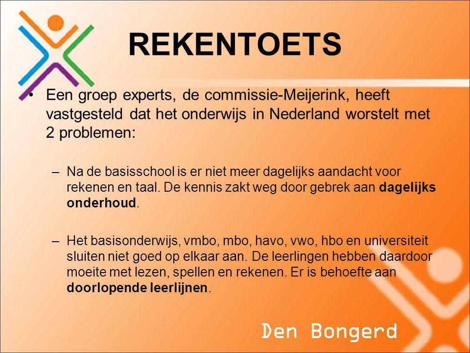 REKENTOETS Een groep experts, de commissie-Meijerink, heeft vastgesteld dat het onderwijs in Nederland worstelt met 2 problemen: