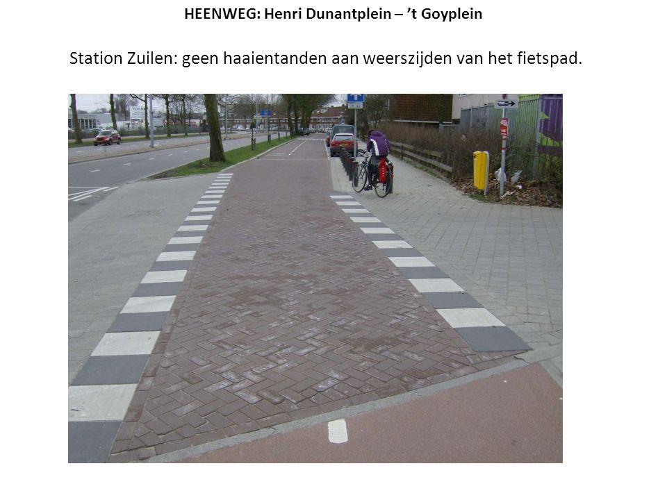 Station Zuilen: geen haaientanden aan weerszijden van het fietspad.