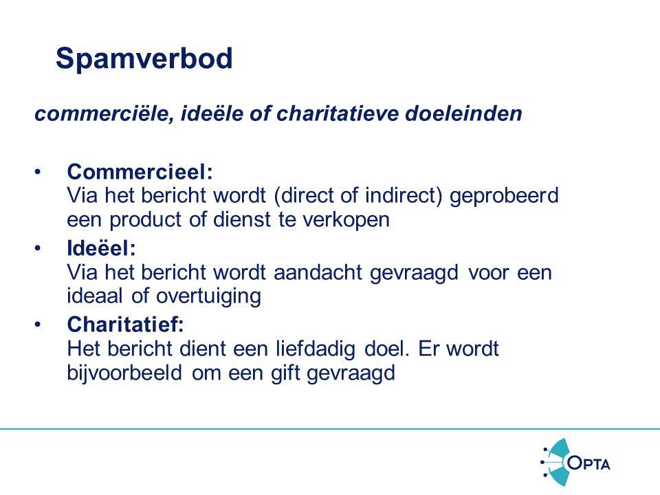 Spamverbod commerciële, ideële of charitatieve doeleinden