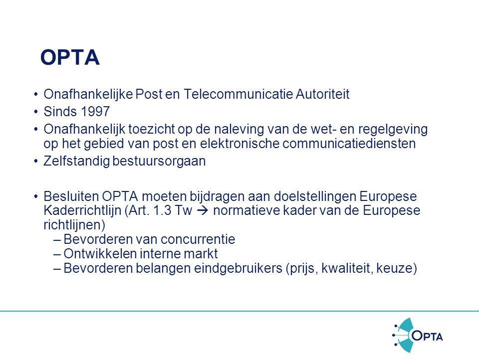 OPTA Onafhankelijke Post en Telecommunicatie Autoriteit Sinds 1997