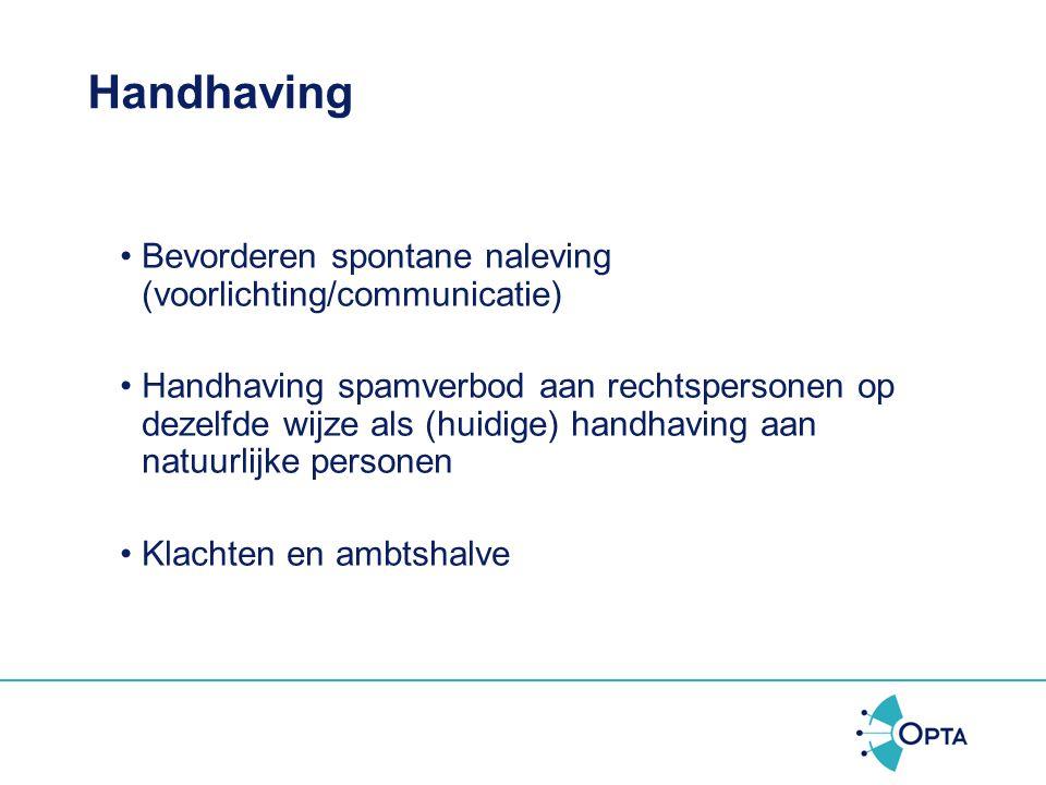 Handhaving Bevorderen spontane naleving (voorlichting/communicatie)