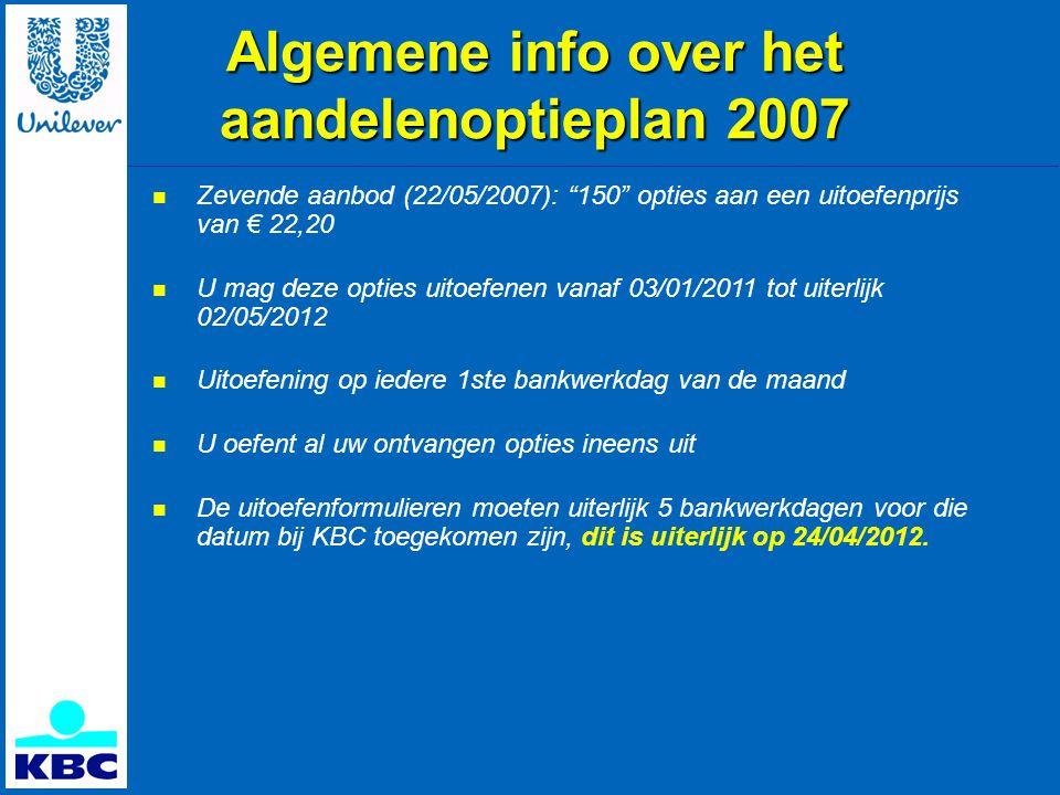 Algemene info over het aandelenoptieplan 2007