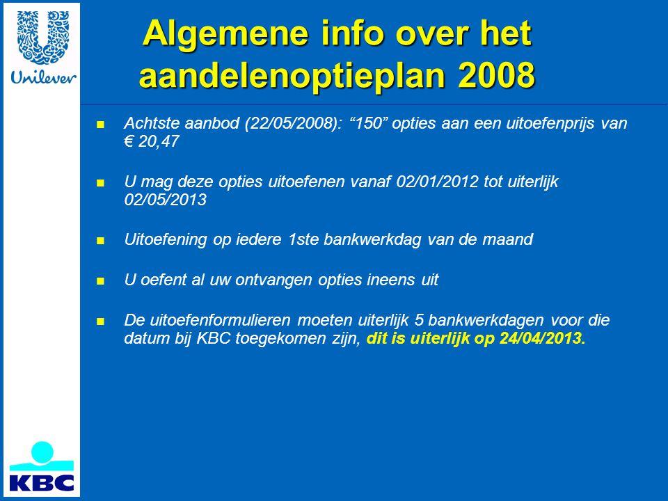 Algemene info over het aandelenoptieplan 2008