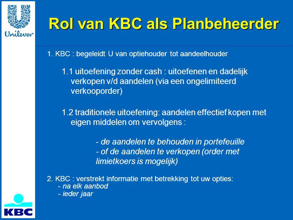 Rol van KBC als Planbeheerder