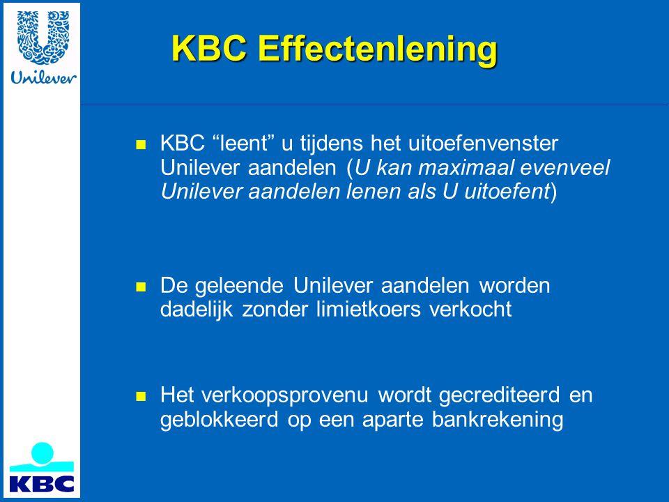 KBC Effectenlening KBC leent u tijdens het uitoefenvenster Unilever aandelen (U kan maximaal evenveel Unilever aandelen lenen als U uitoefent)