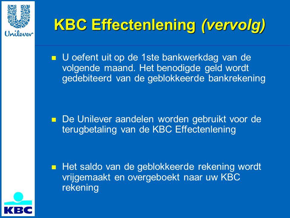 KBC Effectenlening (vervolg)