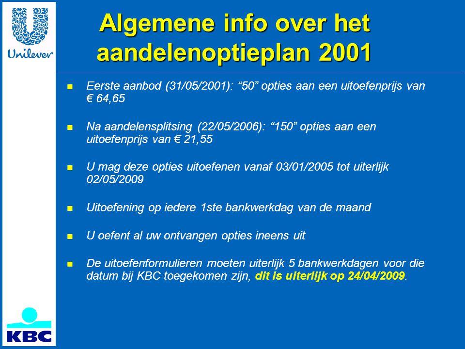 Algemene info over het aandelenoptieplan 2001