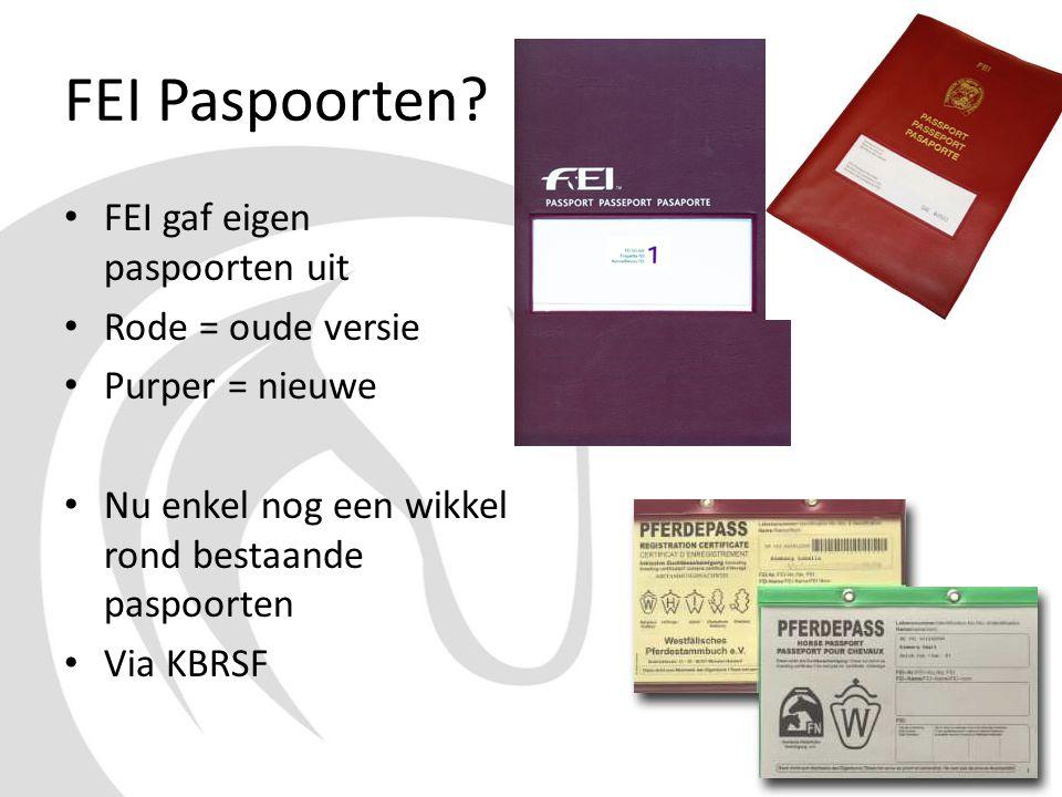 FEI Paspoorten FEI gaf eigen paspoorten uit Rode = oude versie