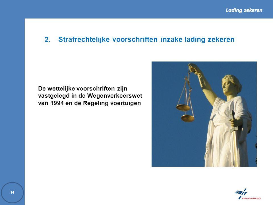 Strafrechtelijke voorschriften inzake lading zekeren