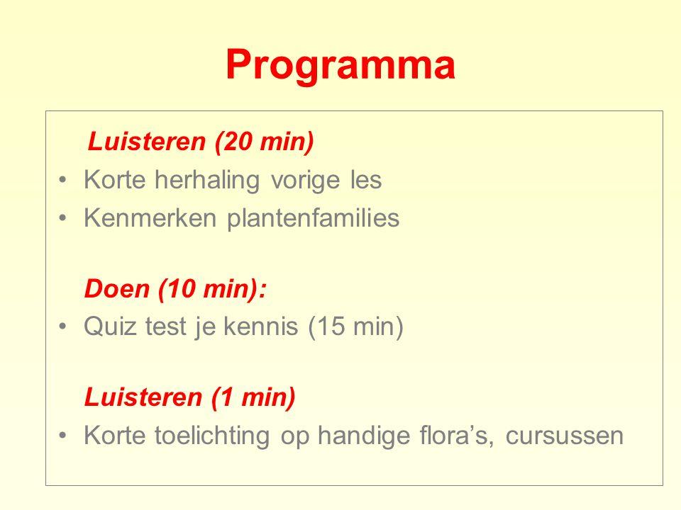 Programma Luisteren (20 min) Korte herhaling vorige les