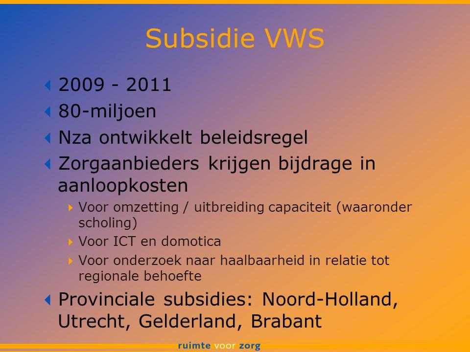 Subsidie VWS 2009 - 2011 80-miljoen Nza ontwikkelt beleidsregel
