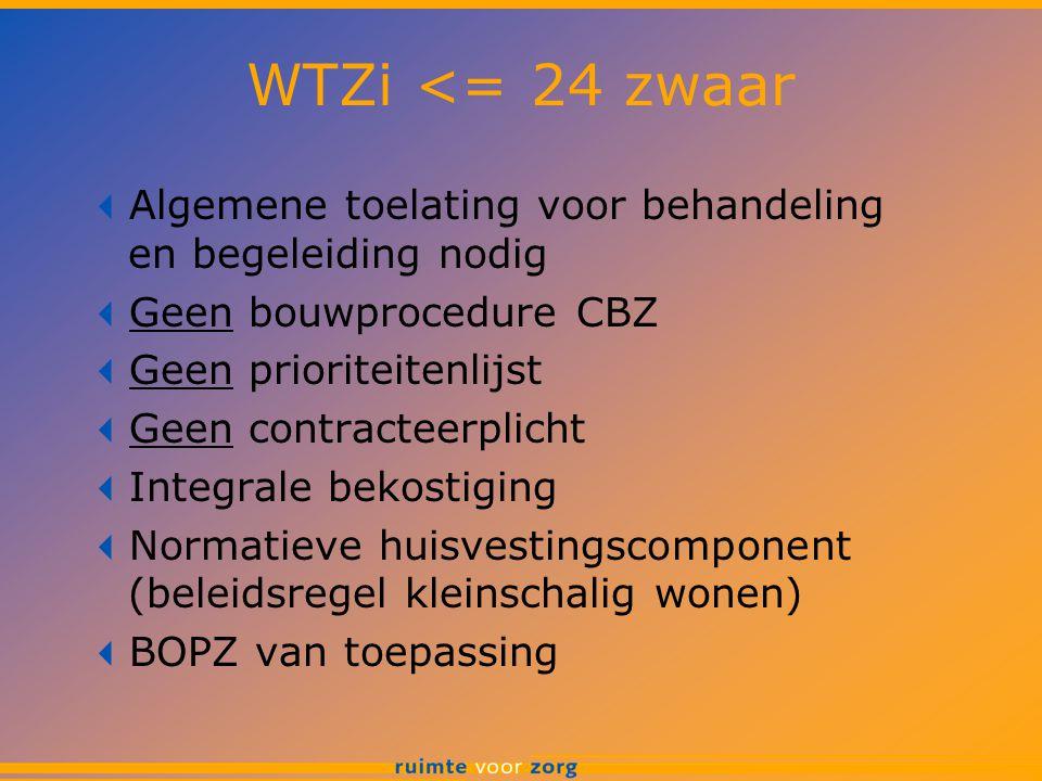 WTZi <= 24 zwaar Algemene toelating voor behandeling en begeleiding nodig. Geen bouwprocedure CBZ.