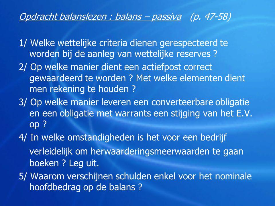 Opdracht balanslezen : balans – passiva (p. 47-58)