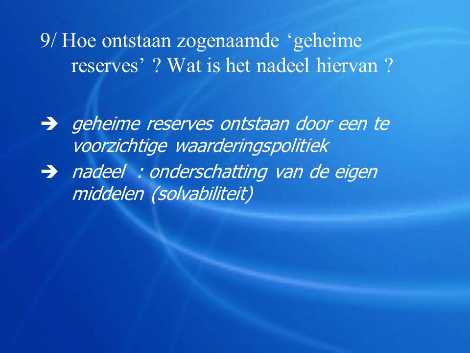 9/ Hoe ontstaan zogenaamde 'geheime reserves'
